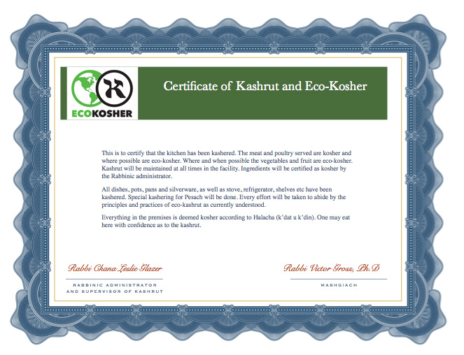 Eco-Kosher certificate example
